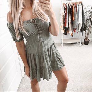 ASOS Off the Shoulder Boho Peasant Mini Dress